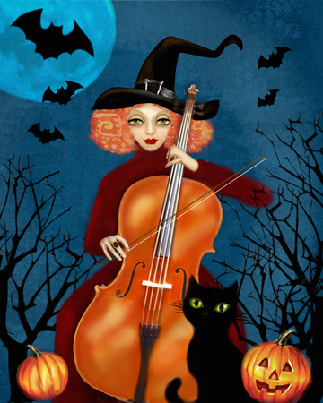 cellist: Mysterious red-haired woman in a witch-cap plays the cello in the dark forest. Flying bats, orange pumpkins and black cat. Happy Halloween illustration. Stock Photo