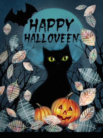 dark forest: Happy Halloween greeting card. Spooky background with autumn tree, black cat, bat flying in the night over dark forest with pumnkins in the fallen leaves on a full moon background.