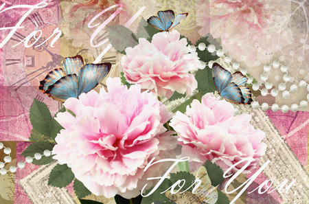 pink pearl: Postcard flower. Congratulations card with peonies, butterflies and pearls. Beautiful spring pink flower. Can be used as greeting card, invitation for wedding, birthday and other holiday happening.