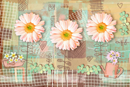 Elegance country postcard with beautiful pink gerbera flowers and watering can. Love floral pattern. Can be used as greeting card, invitation for wedding, birthday and other holiday.