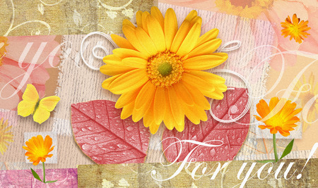 happening: Elegance autumnal postcard with beautiful gerbera flowers, leaves and butterfly. Love floral pattern.Can be used as gift greeting card, invitation for wedding, birthday, other holiday happening