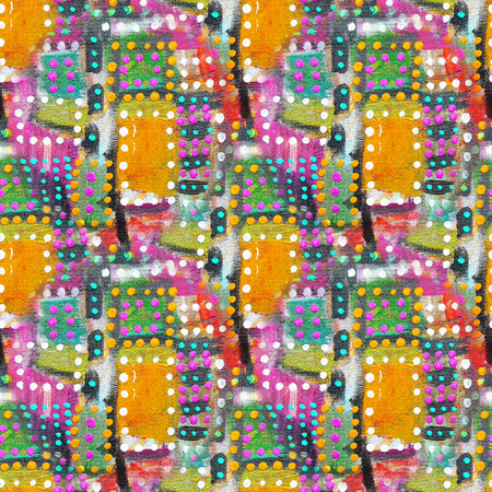 night spot: Abstract acrylic artistic colored polka dot seamless pattern in the form of squares. Geometric drop,simple point,bright stain.Hand drawing baby background.Good for wallpaper,fabric,wraps.Funny art. Stock Photo