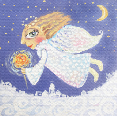 star sky: Illustration of cute little christmas angel with sparkler. Hand painted Christmas picture.