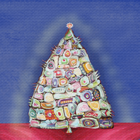 inclusions: Abstract painting christmas tree. Interior decor. abstract ethnic inclusions.