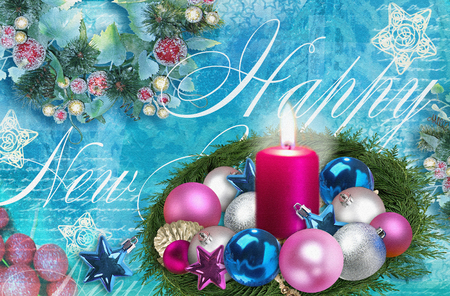 burning candle: Happy New Year background. Christmas decorations, burning candle. Holiday celebration concept. Can be used for invitation or greeting card.