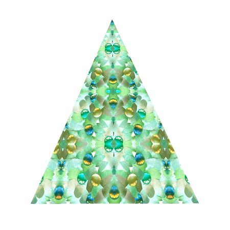 Creative abstract green Christmas tree, isolated on a white background. Delta triangle. Pyramid icon. Stock Photo