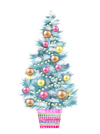 flowerpot: Illustration of the Christmas tree in a flowerpot isolated on white background. Merry Christmas celebration concept with X-mas ball decorated fir plant.