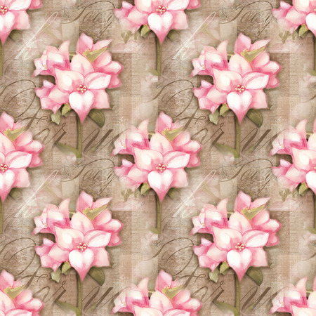 isolated flower: Seamless pattern. Beautiful astromeria flower in the pot with pattern, isolated on grunge shabby background for holiday design. Stock Photo