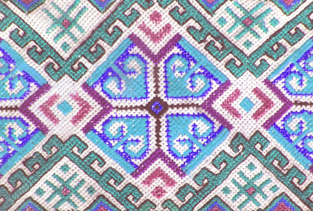 embroidered: Embroidered handmade cross-stitch ethnic Ukraine pattern, stylized as watercolor. Ethnic ornament. Stock Photo