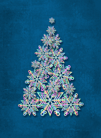 star ornament: Christmas tree made from snowflakes. Abstract winter background. Stock Photo