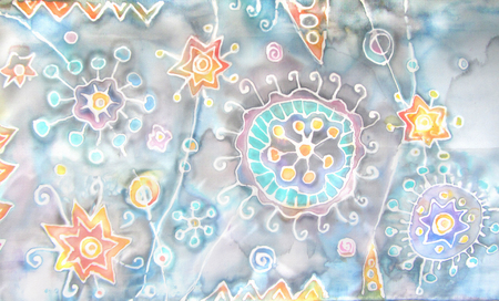fantastic world: Batik. Hand-painting on silk. Abstract flowers, stars, blots, splashes. Fantastic world. Under the microscope, cosmic patterns Stock Photo