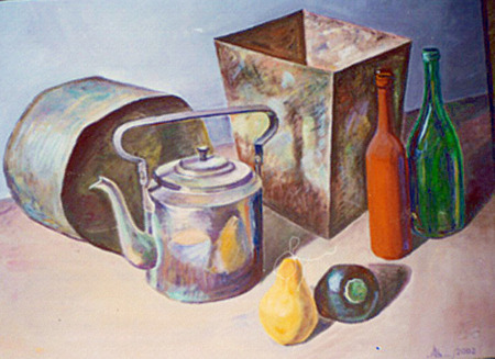 Realistic watercolor still life with the image of kitchen utensils: kettle, bucket, tub, bottles as well as pear and eggplant with the reproduction of texture object: metal, glass, ceramics. Stock Photo