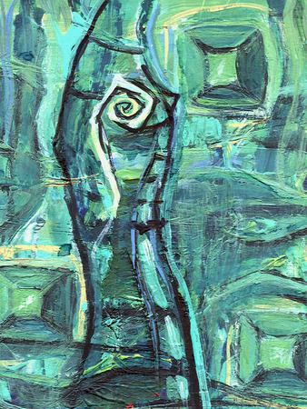 eyes cave: Abstract acrylic painting. Emerald cave with gems. A mineral structure. Stalagmite with mystic eye.