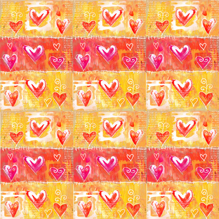 paper heart: Concept painting  heart valentines background.  Vintage background. Valentine background. Hand drawn. Grunge heart. Love heart design.Good for wallpaper,cover, textile and wrapping paper print. Stock Photo