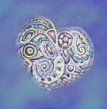 crystal heart: Abstract  painting  crystal heart. Interior decor. abstract ethnic inclusions.