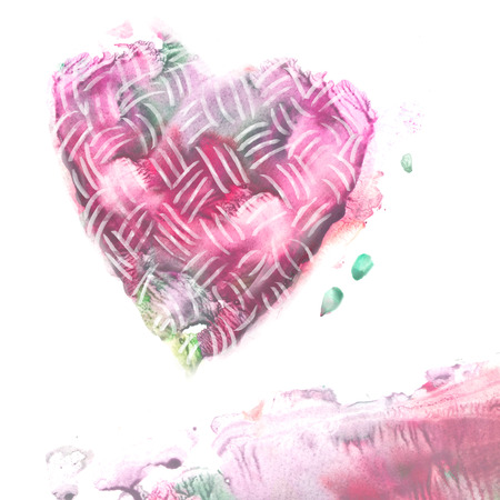 unusual valentine: Abstract watercolor painted heart. Love background. Valentine day design.