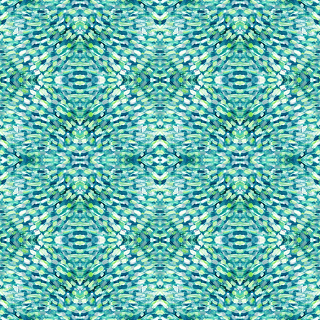 Small pattern with short hand drawn strokes with kaleidoscopic effect. Seamless texture in impressionism style for web, print, fabric, textile, website, invitation card background, summer fall fashion Stock Photo