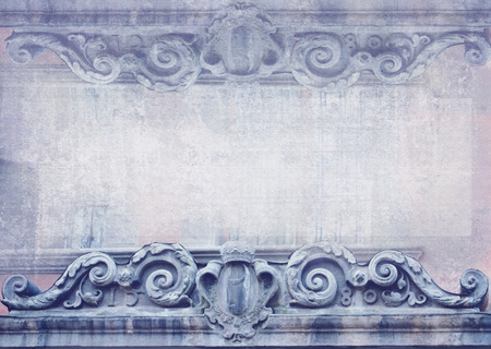 friezes: Blank for flyers, messages, business cards, posters, etc. in shabby chic style. Graphic pattern in vintage style with meander, capitals, friezes. Baroque figures and details carved on facade building. Stock Photo