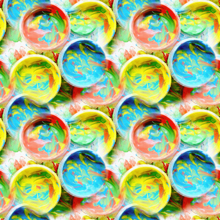 finger paint: Color mixed paint in plastic jars for drawing. Abstract seamless background. Generated pattern. Childrens creativity. Finger paint. Paint cans with various colors. Background of Multi Colored Paint. Stock Photo