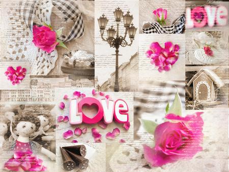 muneca vintage: Shabbi estilo collage de la vendimia elegante con elementos de la ciudad vieja, elementos knited, arreglos florales, mu�ecas y dulces. Se puede utilizar para la impresi�n en la cubierta, papel de embalaje, servilletas, lugar gemela, mantel.