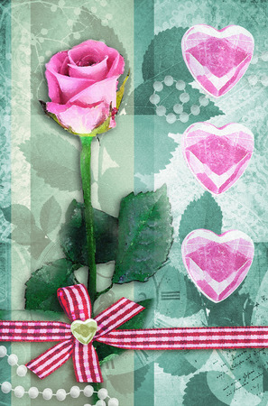 single rose: Beautiful pink rose on stem with leaf isolated on green background. Single rose Valentines Day card. Pink roses with pink hearts. Can be used as valentine card, invitation card for wedding. Stock Photo