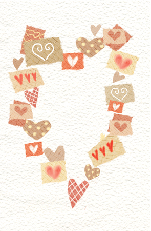 Abstract Hearts Drawn In Big Heart With Place For Your Text Stock