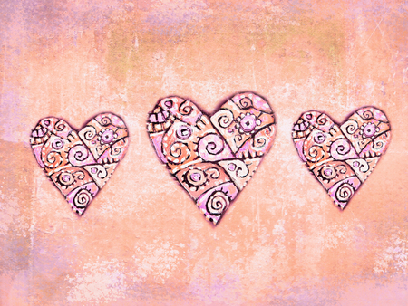 folkloric: Abstract folkloric hearts on grunge background in ethnic motif. Decoration for ethnic design. Fancy multicolored background ornament. Love hearts. Love hearts. Valentine day theme