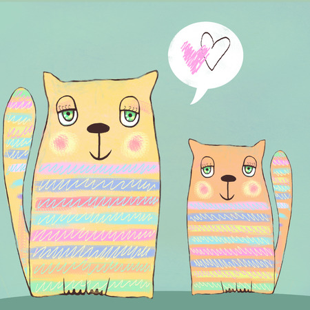 cats playing: Happy colorful valentines cats. Cute couple of cats. Two cat in love. Valentines card. Love background. I love you. Meeting invitation.