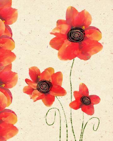 dia de muertos: Tarjeta floral del aislado amapola roja en el fondo de papel decorativo. Invitaci�n de la mano de la vendimia se ahogan. Dise�o floral de la tarjeta con la amapola. Ilustraci�n de la flor de la amapola para el D�a de la Memoria. Foto de archivo