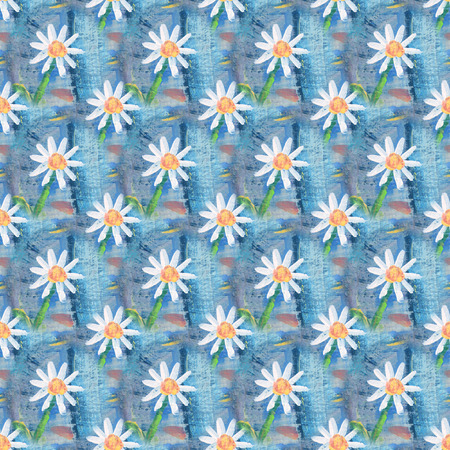 chamomile: Seamless abstract floral pattern with chamomile flowers. Endless background. Fun and cute texture with cartoon chamomile. Stock Photo