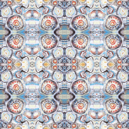 river rock: Seamless pattern. Abstract painted background with orange, brown and blue water blots, mountain river, river stones. Kaleidoscopic seamless pattern. Stock Photo