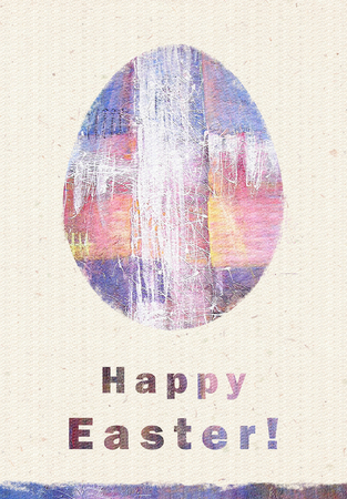 expressionism: Abstract painting, white splash cross. Artistic colorful modern art, abstract art, expressionism and spirituality. Happy Easter greeting card. Easter egg. Congratulation with Easter. Stock Photo