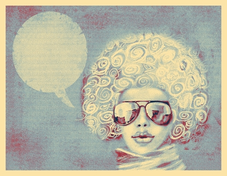 chic woman: Fashionable woman with sunglasses and scarf. Shabby chic style portrait. Illustration of woman with the speech bubble. Stylish abstract fashion background, with woman portrait for cover, flayer.