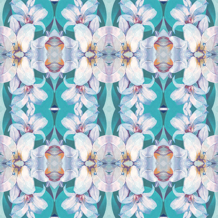 white lily: Seamless pattern with pretty white lily flower on green background, based on hand painting illustration. Abstract kaleidoscopic floral pattern.
