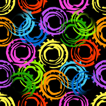 handmade graphic texture: Abstract seamless pattern with big intersected painted circles. Colorful hand drawn print for summer fall fashion with random round shapes. Bright colors on black background Stock Photo