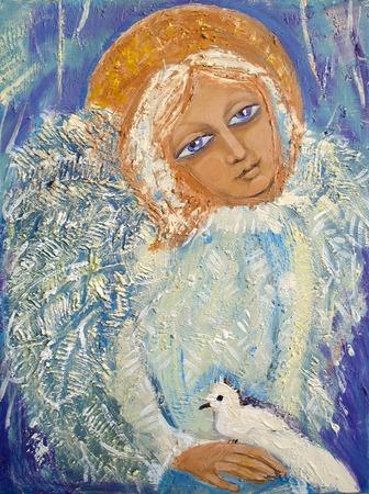 aureole: Angel with bird. Original acrylic painting on canvas.
