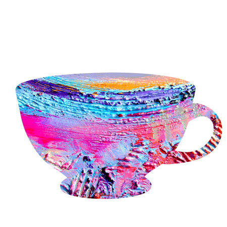 voluminous: Cup image with beautiful, voluminous, pasty texture. Hand drawn cup isolated on white background. Stock Photo
