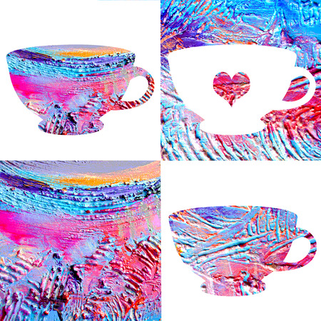 voluminous: Cup images with beautiful, voluminous, pasty texture. Hand drawn set of cups isolated on white and colored background. Stock Photo