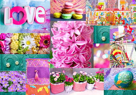 Interesting colorful collage with flowers, easter egg, toy city and toys, bicycle, macaroons, forged ornament. Can use for print on cover, wrapping paper, napkins, place mate, tablecloth. Stockfoto