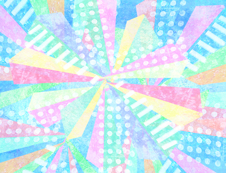 facets: Pop art design. Geometric repeat abstract pattern,made out of triangular facets in multicolor light pale shades with quirky stripes and polka dot fills. Contrasting fashionable polygonal backdrop.