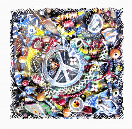 flower power: Pacific card. Illustration of ornamental peace sign on grunge multicolor background. Art design. Flower power. Design for the international day of peace. Colorful pacifism and peace concept. Stock Photo