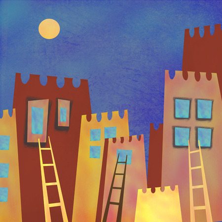 run away: Colorful abstract skyscrapers city at night. Interior decor. Hand-drawn night abstract architecture with moon on the sky. Ladder to the window of night houses. Run away from home.