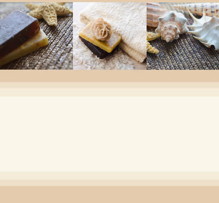handmade soap: Beautiful blank with handmade soap, towel and seashells. Spa background. Spa concept. Wellness and relaxing concepts or massage advertising. Can use as a card, advertising, poster, banner, flyer. Stock Photo