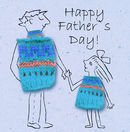 mixed family: Father and daughter on a walk, happy and smiling to each other. Happy fathers day, cartoon illustration with dad and daughter isolated on paper background. Stock Photo