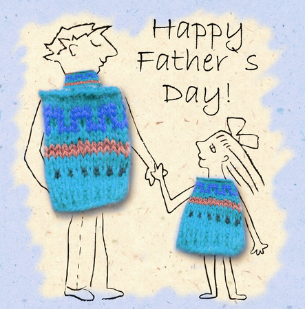 cuddling: Father and daughter on a walk, happy and smiling to each other. Happy fathers day, cartoon illustration with dad and daughter isolated on paper background. Stock Photo