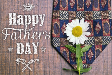 article marketing: Happy fathers day greeting card. Fathers day background. Holiday card with isolated graphic elements, text, tie and dasy. Can use as ad, promotion, poster, flyer, blog, article, marketing, advert.