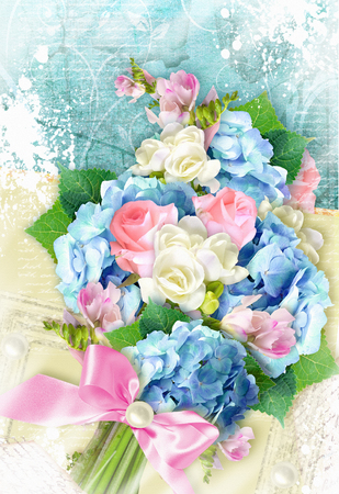 wedding bouquet: Beautiful bouquet with blooming hydrangea and rose flowers on grunge background. Can be used as greeting card, invitation card for wedding, birthday and other holiday.