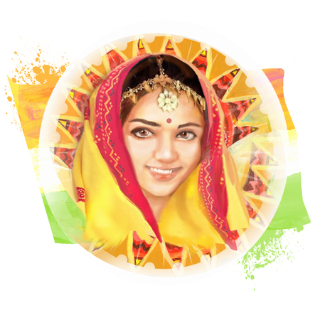 sari: Illustration of beautiful Indian young woman in colorful sari for your design. Traditional fashion. Image in the national tricolor for Indian Independence Day celebration.