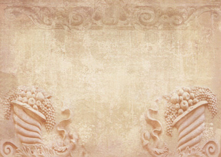 friezes: Blank for flyers, messages, menu cards, posters, etc. in shabby chic. Graphic collage in vintage style with meander, capitals,friezes, stone fruits. Baroque figures and details carved on building. Stock Photo