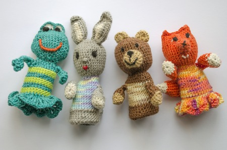 Finger Animal Puppets Knitted From Wool Hand Made Crochet Knitting